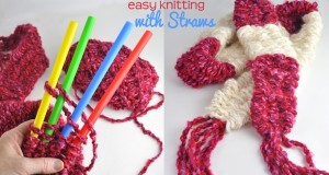 Easy-Knitting-with-Big-Straws-DIY-for-kids